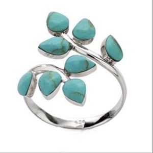 Jewelry - Turquoise Leaves Bypass Ring Sterling Silver